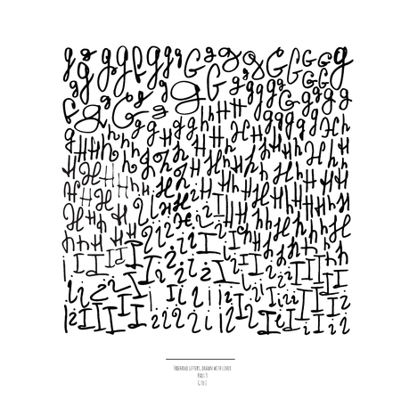part of me: Conjunto grande del vector de dibujado a mano con letras delineador negro, aislado en fondo blanco. Parte 3 incluye la letra G, H y letra letra I. Colección de cartas a mano alzada en diferentes formas y estilos