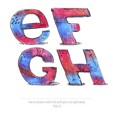 inclined: Large raster illustration with letters sequence from e to h. Part of hand drawn alphabet, drawn with ink and color pencils in red and blue gradient style. Isolated on white inclined capital letters. Stock Photo