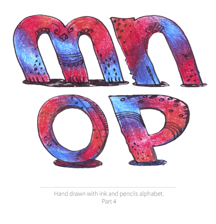 inclined: Large raster illustration with letters sequence from m to p. Part of hand drawn alphabet, drawn with ink and color pencils in red and blue gradient style. Isolated on white inclined capital letters. Stock Photo