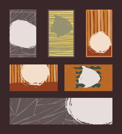 Insieme vettoriale di carte vividi colori di business verticali e orizzontali e la bandiera, disegnati a mano con inchiostro liquido e pennello, con spruzzi, strisce e imperfezioni. Insieme di isolati su disegni neri