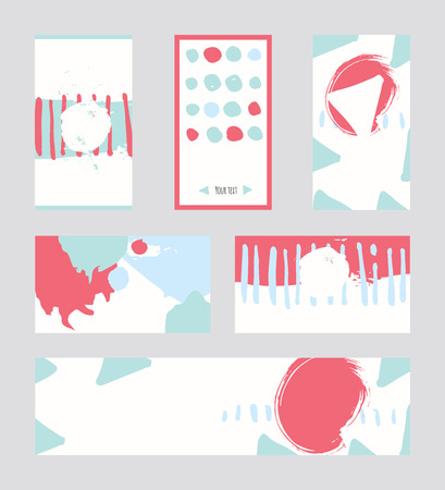 accents: Bright abstract business cards, hand drawn with brush and stripes, brush blobs and smears. Pink, teal, blue accents. Vector illustration set, good for print or presentation design with place for text.