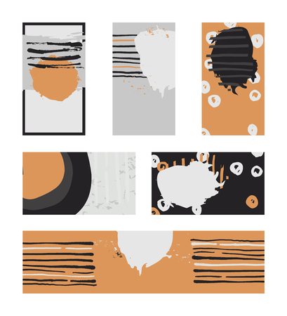 imperfections: Vector collection of contrast colored business vertical and horizontal cards and banner hand drawn with liquid ink and brush, with splashes, stripes and imperfections. Grey, black and orange colors.