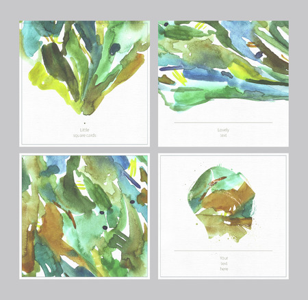 smears: Set of beautiful watercolor square cards on watercolour textured white paper with place for text. Hand drawn illustration with blobs, smears, dots, freehand, with blank space between brush spots.
