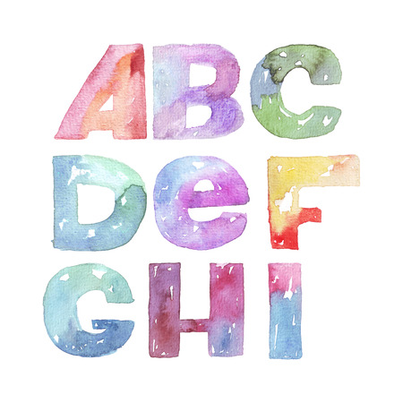 imperfections: Large raster illustration with watercolor letters sequence from A to I. Alphabet, vivid colored, grainy, with splashes and imperfections, isolated on white background. Hand drawn abc letters