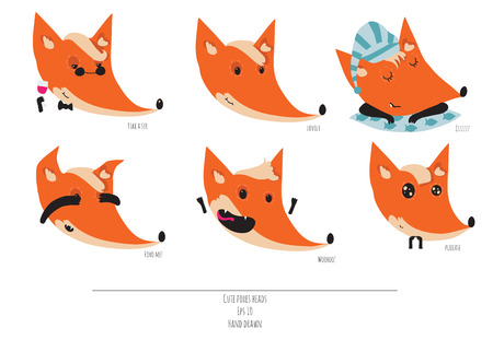 sir: Cute vector set of playful foxes heads with various emotions. Sleepy, woohoo, hiding, please, like a sir, Hand drawn cute illustration isolated on white background