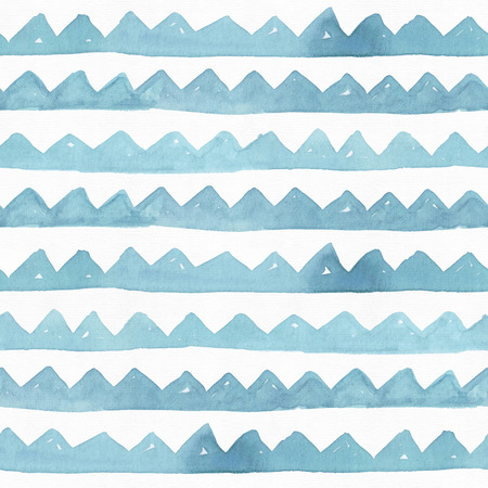 toothed: Seamless watercolor branding texture, based on toothed blue and aqua hand-drawn stripes. Simple, stylish, rough. Raster illustration is full colored, vibrant, with associations of sea and mountains