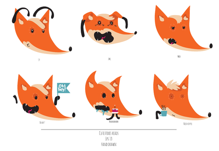 playful: Cute vector set of playful foxes heads with various emotions. Oh hey, love you, meh, fml, need coffee. Hand drawn cute illustration isolated on white background