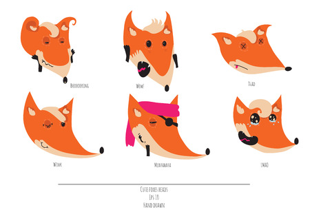 boring: Cute vector set of playful foxes heads with various emotions. Boring, wow, dead, winging, muahaha, lmao. Hand drawn cute illustration isolated on white background Illustration