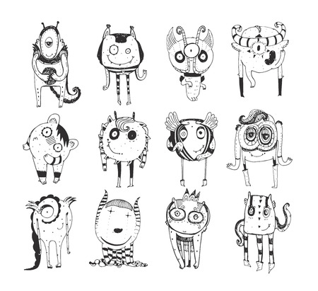 staying: Cute monochrome collection with hand drawn doodle monsters, isolated on white background. Lovely characters staying and watching. Black and white childish illustration