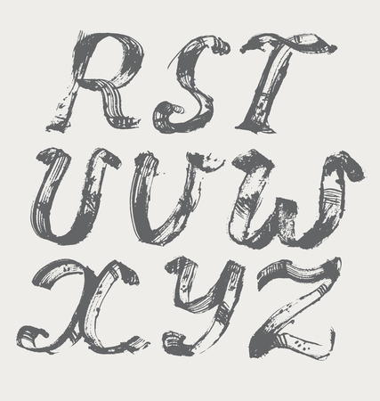 upper case: Ink alphabet R to Z, freehand, stylish, in raster. Illustration made with black dye, isolated on white, black, decorated. Upper case.