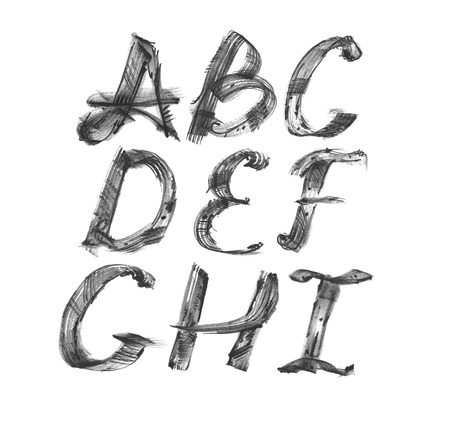Ink alphabet A to I, freehand, stylish, in raster. Illustration made with black dye, isolated on white, black, decorated. Upper case. Raster illustration, perfect for presentations and education.