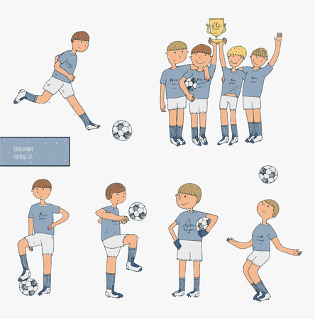 imperfect: Hand drawn vector illustration with soccer players, isolated on white background. Football stuff, happy winning team, training boys in uniform. Imperfect image, drawn in doodle style Illustration