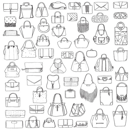 satchel: Large vector set of black and white doddle fashion bags, hand drawn with black ink, isolated on white background. Illustration with group of various handbag, purse, pouch, satchel, clutch, bag.