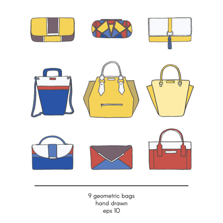 vogue style: Stylish collection of 9 fashion bags with geometric design, isolated on white background. Color illustration in red, yellow and blue. Hand drawn fashion trend glamour set kit in vogue style.