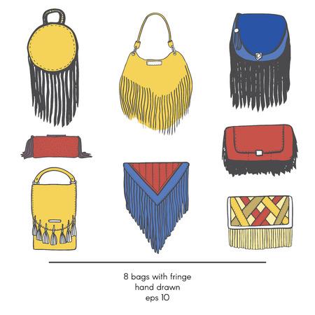 Colección con estilo de 9 bolsas de moda con flecos, aislado en fondo blanco. Ilustración de color en rojo, amarillo y azul. Mano glamour tendencia de la moda dibujado establece kit en el estilo de moda.