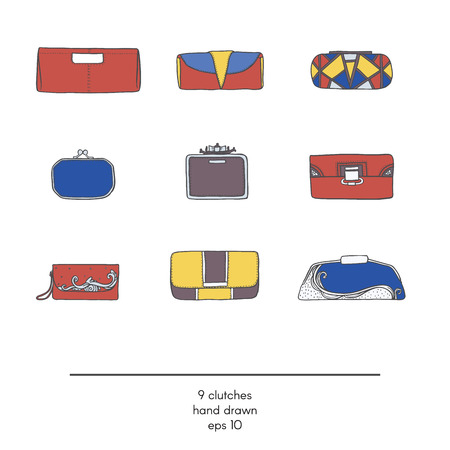 vogue style: Stylish collection of 9 fashion vector small clutch bags, isolated on white background. Color illustration in red, yellow and blue. Hand drawn fashion trend glamour set kit in vogue style.