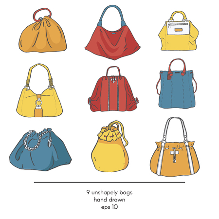 vogue style: Stylish collection of 9 fashion formless vector bags, isolated on white background. Color illustration with bags in red, yellow and blue. Hand drawn fashion trend glamour kit in vogue style.