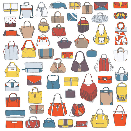 satchel: Large vector set of colorful doodle fashion bags, hand drawn with black ink, isolated on white background. Illustration with group of various handbag, purse, pouch, satchel, clutch, bag.
