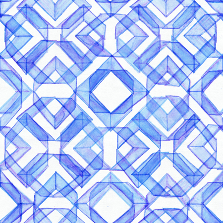 imperfect: Seamless watercolor texture, based on blue hand drawn imperfect lines in a geometric repeating design. Beautiful pattern, good for fabric, wrapping paper design. Blue brush strokes overlapped Stock Photo