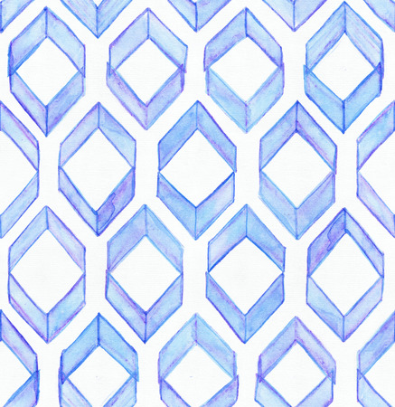 imperfect: Seamless watercolor texture, based on blue hand drawn imperfect rhombus in a geometric repeating design. Beautiful pattern, good for fabric, wrapping paper design. Blue brush strokes. Stock Photo