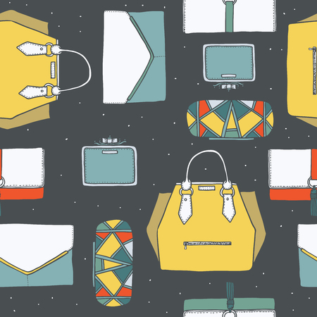 handbags: Seamless vector illustration with cute yellow, purple and grey handbags and clutches in fashion stylish pattern. Hand drawn background, drawn with imperfections on dark grey dotted background Illustration