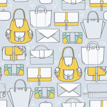 handbags: Seamless vector illustration with cute yellow and grey handbags and clutches in fashion stylish pattern. Hand drawn background, drawn with imperfections on grey background Illustration