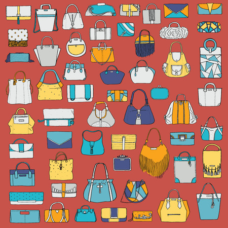 clutch: Large vector set of colorful doodle fashion bags, hand drawn with black ink, isolated on red background. Illustration with group of various handbag, purse, pouch, satchel, clutch, bag. Illustration