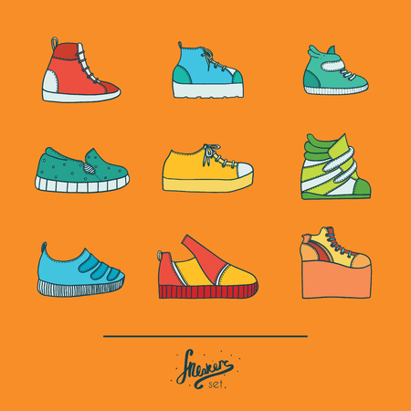 foot gear: Beautiful set with stylish footwear - sneakers in various styles and shapes. Collection with different shoes in bright colors on orange background. Vector illustration, hand drawn in doodle flat style.