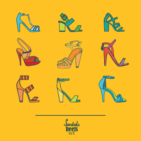 Lovely set with stylish fashion shoes, hand drawn and isolated on yellow background. Vector illustration showing various stiletto high heels sandals. Creative collection in different colors. Illustration