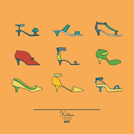 femine: Beautiful set of isolated on background flat vector shoes hand drawn in stylish collection of kitten heels. Fashion illustration good for creative design. Color bright image on orange background.