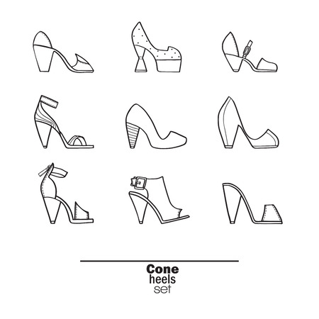 femine: Beautiful set of isolated on background flat vector shoes hand drawn in stylish collection of cone heels. Fashion illustration good for creative design. Image in black and white on white background.