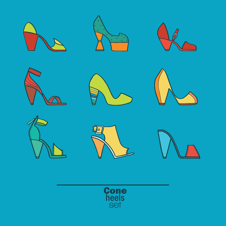 femine: Beautiful set of isolated on background flat vector shoes hand drawn in stylish collection of cone heels. Fashion illustration good for creative design. Color image in bright colors on blue background
