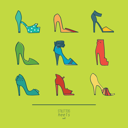 stiletto: Beautiful set of isolated on background flat vector shoes hand drawn in stylish collection of stiletto heels. Fashion illustration good for creative design. Color image in bright colors on green. Illustration