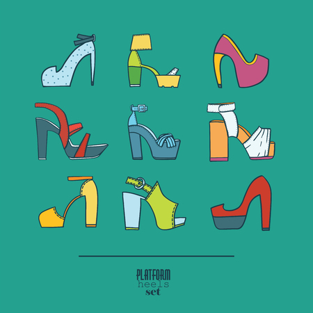 Lovely set with stylish fashion shoes, hand drawn and isolated on Illustration