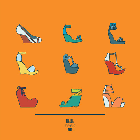sandals isolated: Lovely set with stylish fashion shoes, hand drawn and isolated on orange background. Vector illustration showing various wedge high heels sandals. Creative collection in different colors. Illustration