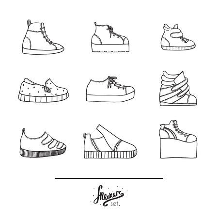 trough: Beautiful set with stylish footwear - sneakers in various styles and shapes. Collection with different shoes in hand drawn black outline on white background. Vector illustration in doodle flat style.