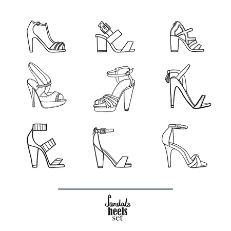 stiletto: Lovely set with stylish fashion shoes, hand drawn and isolated on white background. Vector illustration showing various stiletto high heels sandals. Creative collection in black and white. Illustration