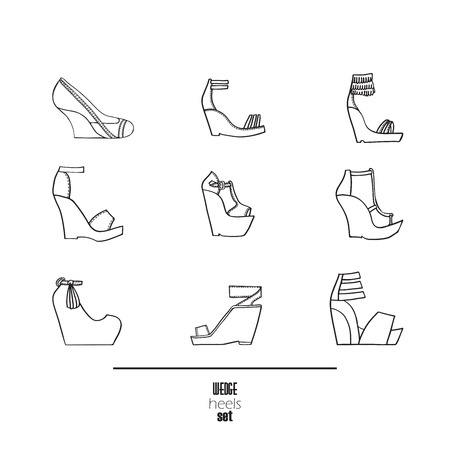 sandals isolated: Wedge heels and sandals set. Vector illustration, hand drawn with black ink and isolated on white background. Fashion set with decorated with seam shoes on high wedges. Contemporary fashion collection.