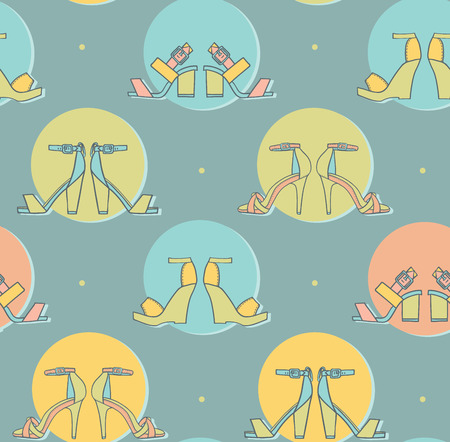 tillable: Vector illustration with pairs in colorful circles on blue background in seamless pattern design. Hand drawn texture good for fashion and footwear design, tillable, creative in pastel colors.