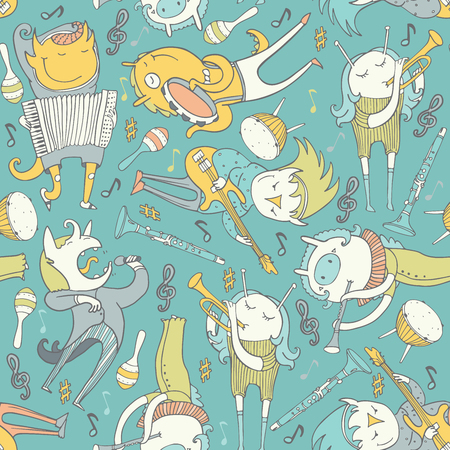 fife: Cute seamless pattern with lovely musicians monsters, playing various instruments on blue background. Vector square illustration with lovely characters, singing and playing. Childish texture design
