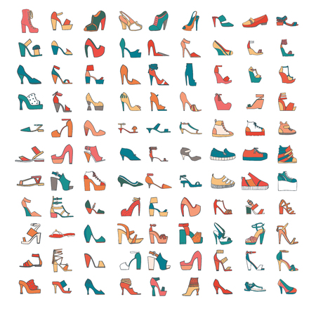 sandals isolated: Bautiful set of various shoes and sandals, isolated on white background. Vector bundle with 99 different summer and spring female footwear with different heels and platform types. Vector illustration.