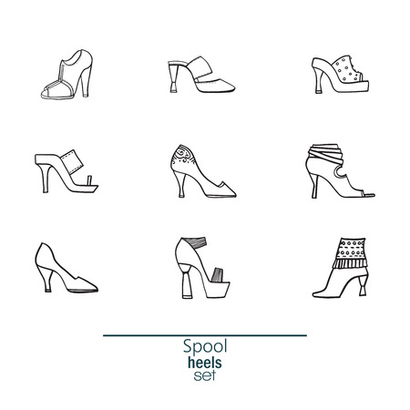 sandals isolated: Beautiful set of various shoes and sandals, isolated on white background. Vector bundle with 9 summer and spring female footwear with spool heels type. Vector hand drawn black and white illustration.