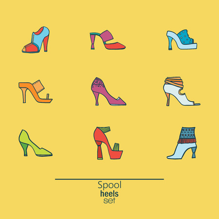 sandals isolated: Beautiful set of various shoes and sandals, isolated on yellow background. Vector bundle with 9 different summer and spring female footwear with spool heels type. Vector hand drawn illustration.