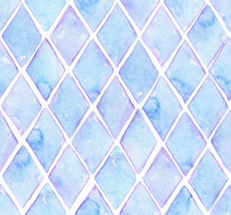 Large seamless raster texture with blue rhombus in solid design on white watercolor paper. Creative grainy illustration hand drawn with brush. Creative pattern in simple all-over style. Фото со стока