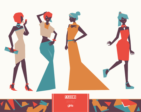 Vector set with creative low poly fashion girls in evening dresses in geometric graphic style, isolated on background. Stylish illustration with long and cocktail dresses. Women in various poses. Illustration