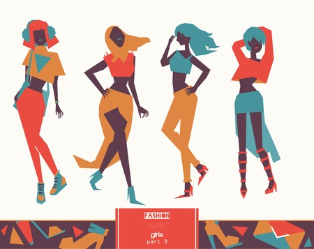 Creative illustration with lovely girls in elegant fashion style in different poses.