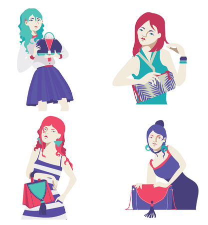 Vector fashion collection with bright flat girls with bags in hands. Purple, blue and pink colors, hand drawn graphic with stylish women. Handbags and clutches decorated with seam, fringe and print. Illustration