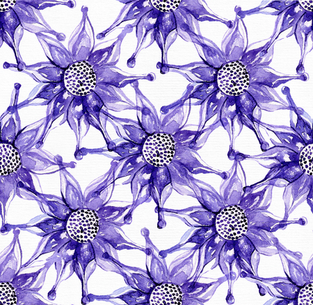 exotica: Seamless large raster pattern with exotic flower in blue and purple colors. Hand drawn watercolor illustration, drawn with brush and ink on white watercolor textured paper