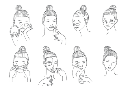 edema: Vector set with women head in different conditions, mood and angle. Cosmetology procedures like treatment and facial masks for lips, eyes and skin. Girl takes care of her skin and face herself Illustration