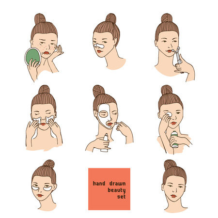 Color vector set with women head in different conditions, mood and angle. Cosmetology procedures like treatment and facial masks for lips, eyes and skin. Girl takes care of her skin and face. 일러스트